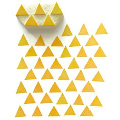 Modern Triangles Pattern Rubber Stamp - Hand Carved Stamp. $9.00, via Etsy. I love Yellow :)