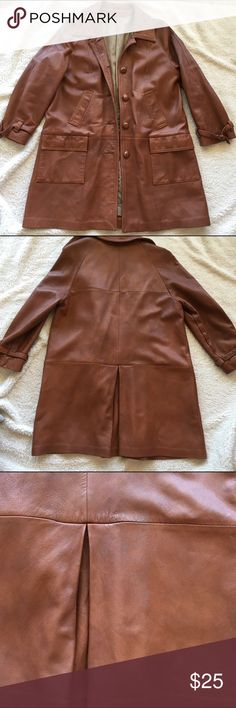 Vintage leather coat, size M Vintage lined leather coat in a beautiful cognac brown by New England Sportswear Company in good vintage condition. The tag says size small but seems to fit like a medium. There's a few spots of discoloration on the back, near the pleat (picture 3). The lining has 3 holes in it where the seams all meet and have pushed through but the leather is fine (picture 4). New England Sportswear Company Jackets & Coats