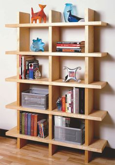 Contemporary bookcase made from wood planks