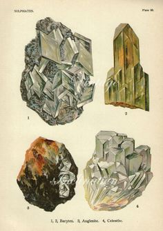 Vintage Print 1911 Antique GEMSTONES by VintageInclination on Etsy, $22.00