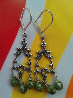 Silver Earrings with Green Czech Glass Beads ($22) by Avocado Eggroll