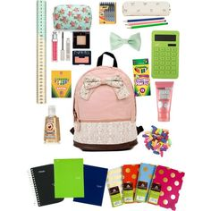 I love the color of the backpack, bow, and pencil pouch!! This is so cute!