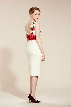 Riviera Cream Embroidered Rose Pencil Dress - view 2