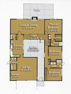 Original Eichler house plans, 1960s. I've always loved the idea of a courtyard (atrium)! 1649 sq ft