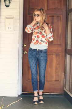 Floral cardi over chambray