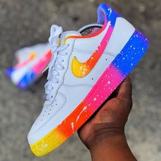 or Which custom is your favorite? - custom sneakers by independent artists👟 ? Cute Nike Shoes, Cute Nikes, Nike Air Shoes, Nike Shoes Outfits, Colorful Nike Shoes, Air Force One Shoes, Nike Air Force Ones, Custom Painted Shoes, Custom Shoes