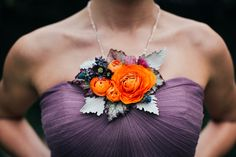 Spring fresh flower necklace featuring ranunculus; designed by Love 'n Fresh Flowers; photo by Love Me Do Photography