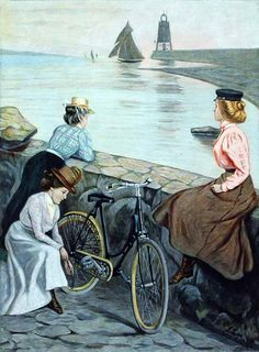 1899 color print of three women with a bicycle looking out at the harbor of Swinemüde, now Swinoujscie, Poland.