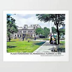 Pensacola, Florida ca 1910: Plaza Ferdinand VII & Opera House Art Print