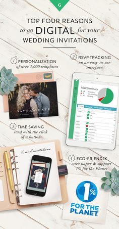 Enjoy all of the style with none of the stress by choosing digital invitations from Greenvelope.com. Sign up today to see why thousands of couples have gone digital for their wedding invitations with Greenvelope.