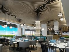 DB Kim Cafe Restaurant, Restaurant Design, Water Patterns, Sport Craft, Library Design, Ceiling Design, E Design, Dining Table, Design Inspiration