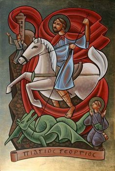 Religious Icons, Religious Art, Saint George And The Dragon, Paint Icon, Russian Icons, Spiritus, Byzantine Icons, Orthodox Icons, Blessed Mother