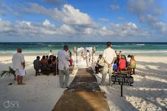 "Ceremony set-up by the Mexican Caribbean Sea, ""pick a seat, not a side"". Destination wedding at Akiin Beach Club in Tulum. Mexico wedding photographers Del Sol Photography."