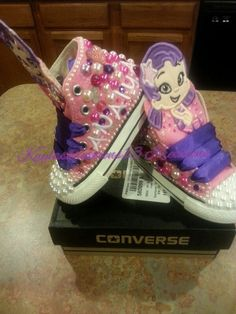 Oona Bubble Guppy themed custom Converse by KaylasKreations13