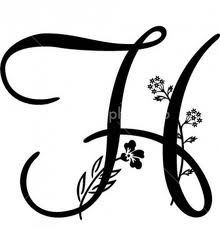 tattoos of the letter h with a flower - Google Search