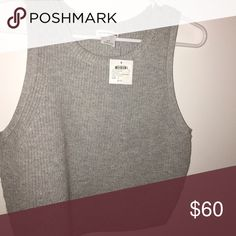 CLUB MONACO never been worn grey sweater tank A little cropped on me (I'm 5'5). Never been worn still with tags Club Monaco Tops Tank Tops
