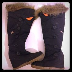Selling this ✨saleBlack wedge Sugar boots with fox fur trim in my Poshmark closet! My username is: nimby. #shopmycloset #poshmark #fashion #shopping #style #forsale #Sugar #Shoes