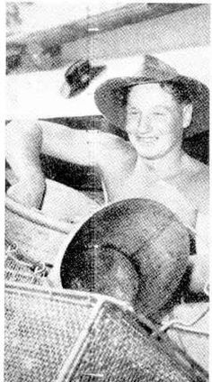 1954 CMF at Greenbank. Pte C Rice of Maryborough strips to the waist to clean dixies at the cookhouse. Military Personnel, Brisbane, Rice, Military Men, Laughter, Military, Jim Rice, Brass