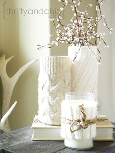 Decorate With an Old Sweater: Winterize your home& decor by covering spring. CLICK Image for full details Decorate With an Old Sweater: Winterize your home& decor by covering spring vases and candleholders wit. After Christmas, Noel Christmas, Christmas Crafts, Christmas Decorations, Homemade Christmas, Xmas, Rustic Christmas, Christmas Lights, Christmas Pillow