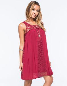 LOVE FIRE Mixed Media Shift Dress 259342320 | Short Dresses