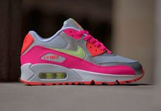 sports shoes 17e6f 4e840 Nike Air Max 90 GS - Pure Platinum   Liquid Lime   Pink Air Max Sneakers