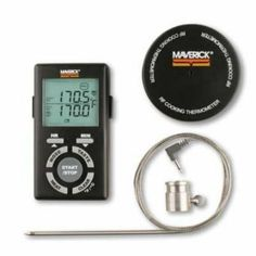 Maverick ET-75 Rotisserie Thermometer by Maverick. $41.42. Description:The Maverick ET-75 Remote Wireless BBQ Rotisserie Thermometer consists of two separate units, the receiver, and the transmitter.. The receiver is compact, about 4 1/4 x 2 3/8 x 1 inch. It is equipped with a removable belt clip and fold out stand. On the receiver, the food and target temperatures are displayed simultaneously in your choice of ° F or ° C in digits about 3/8 inch tall. Timer d...
