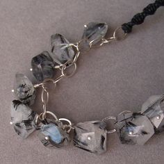 Faceted Chunky Black Rutile Quartz necklace by silverlyjewelry, $55.00