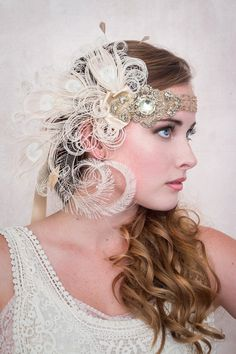 Antique Gold Nymph Ivory Peacock Feather Flapper by BaroqueAndRoll