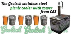 Grolsch picnic cooler with tower. Stainless Steel and ready to go!