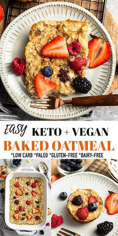This Vegan Baked Oatmeal is made with coconut flakes, ground flax seeds, fresh berries and a handful of simple & grain-free ingredients. It's a healthy and hearty breakfast casserole that's perfect for making in advance! Gluten-free, paleo, vegan, dairy-free with low carb and keto-friendly sweetener options. Freezer-friendly + perfect for making ahead on Sunday meal prep! #vegan #baked oatmeal #keto #glutenfree Delicious Breakfast Recipes, Vegetarian Recipes Easy, Vegan Meals, Vegan Dishes, Dairy Free Recipes, Diabetic Recipes, Brunch Recipes, Yummy Recipes, Keto Recipes