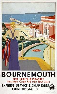 An poster sized print, approx (other products available) - Poster produced for Great Western Railway (GWR) to promote rail travel to Bournemouth in Dorset. Artwork by G D Tidmarsh. - Image supplied by National Railway Museum - Poster printed in Australia Posters Uk, Train Posters, Railway Posters, Vintage Travel Posters, Poster Prints, Beach Posters, Vintage Ski, Retro Posters, Vintage Holiday
