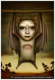 Bat's wisdom: shamanic death/rebirth… Scary Art, Creepy, Halloween Artwork, School Of Visual Arts, Lowbrow Art, Pop Surrealism, Surreal Art, Altered Art, Unique Art