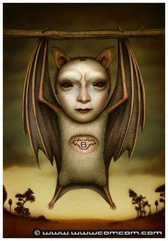 ☆ Batman :¦: Artist Naoto Hattori ☆ Scary Art, Creepy, Halloween Artwork, School Of Visual Arts, Lowbrow Art, Pop Surrealism, Surreal Art, Altered Art, Unique Art