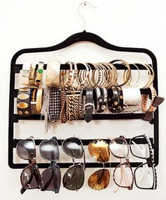 Just Hangin' Around, 11 Crazy-Gorgeous Ways to Display Your Accessories - (Page 11)  Great way to store my shades. Ross has these hangers for a reasonable price.