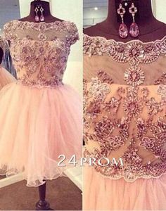 A-line Round Neckline Rhinestone Short Prom Dresses, Homecoming Dresses, lace prom dress,dress for prom