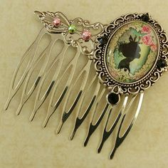 New: Girls hair comb with Princess in pink green silver