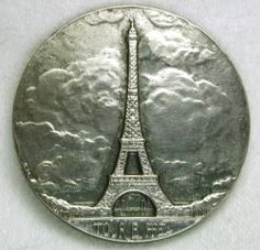 Old French Metal Button Lovely Eiffel Tower Image 1 7 16"