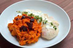 Experimente aus meiner Küche: Kürbis - Rote Bete - Püree mit Hähnchenbrustfilet aus dem Ofen von Mit Pfeffer & Liebe