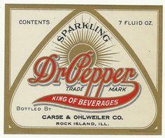 Vintage soda pop bottle label DR PEPPER King of Beverages slogan new old stock Dr. Pepper, Pepper King, Vintage Labels, Vintage Ads, Vintage Signs, Vintage Packaging, Vintage Type, Vintage Branding, Vintage Ephemera