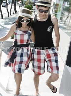Summer Hot Sale Plaid Women Dress+ Men's Shorts Couple Shirt