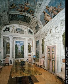 Italy, Villa Barbaro (UNESCO World Heritage site) glimpse of the Room of Bacchus, frescoes by Paolo Veronese (1528-1588) Treviso Veneto