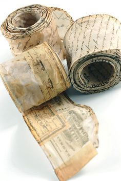 Wired script parchment paper ribbon from save-on-crafts, perfect for heritage albums and altered art projects. Save On Crafts, Arts And Crafts, Paper Crafts, Diy Crafts, Card Crafts, Altered Books, Altered Art, Paper Ribbon, Ribbon Art