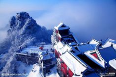 A snowy day in Mount Wudang.