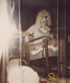 Dennis Rader wearing his attack mask in his bondage pic