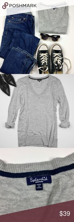 Splendid Grey V-Neck Sweater Used in Excellent Condition/ No Trades/ No PayPal/ Smoke & Pet Free Home/ Please Ask Questions!/ Like what you see but the price too high? Make an offer! Splendid Sweaters V-Necks