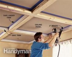 Ceiling Panels: How to Install a Beam and Panel Ceiling - Step by Step The Family Handyman Panneau Mural 3d, Basement Remodeling, Basement Ideas, Remodeling Ideas, Basement Bars, Diy Home Improvement, Home Repair, Home Renovation, Home Projects