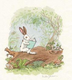 Such a sweet invitation to take up a book. ~ Illustration by Anita Jeram. Anita Jeram, Bunny Art, Bunny Book, Rabbit Art, Children's Book Illustration, Whimsical Art, Cute Art, Childrens Books, Penny Black
