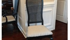 Knock Off No Sew Dining Chairs - Bless'er House Cane Back Chairs, High Back Chairs, Dining Chair Makeover, Furniture Makeover, Dining Room Design, Dining Room Chairs, Antique Furniture Restoration, Floral Chair, Reupholster Furniture