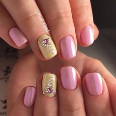 Beautiful nails 2017, Cool nails, Half moonnails with rhinestones, Iridescent nails, Nacre nails, Nails with rhinestones ideas, Pearl nails, Pink manicure ideas
