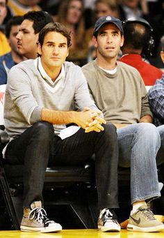 Tennis Legends Roger Federer and Pete Sampras